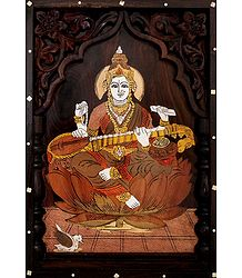 Saraswati - Wood Inlaid Wall Hanging
