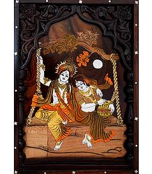 Radha Krishna on a Swing - Wood Inlaid Wall Hanging