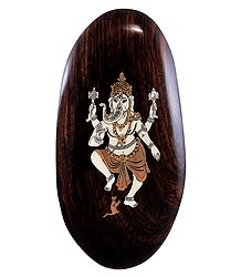Dancing Ganesha - Inlaid Wood Wall Hanging