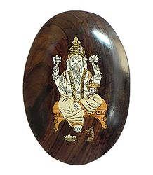 Lord Ganesha - Inlaid Rosewood Wall Hanging