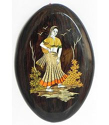 Village Woman with Matka - Inlaid Rosewood Wall Hanging