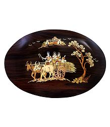 Villagers on Bullock Cart - Inlaid Wood Wall Hanging