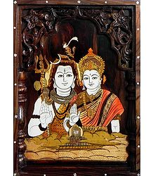 Buy Inlaid Wood Wall Hanging of Shiva and Parvati