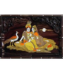 Inlaid Wood Wall Hanging of Radha Krishna