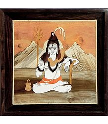 Ascetic God Shiva - Inlaid Wood Wall Hanging
