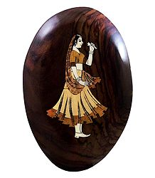 Woman Holding Flower - Inlaid Wood Wall Hanging
