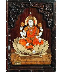 Goddess Lakshmi - Inlaid Wood Wall Hanging