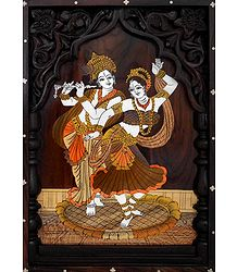 Radha Krishna in a Dancing Pose - Wood Inlay Work