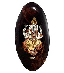 Lord Ganesha - Inlaid Wood Wall Hanging