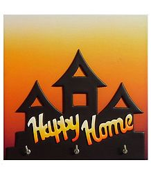 Happy Home on Wooden Key Rack with Three Hooks - Wall Hanging