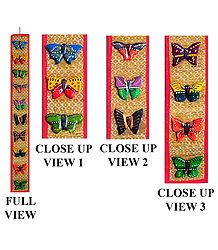 Wooden Butterflies on Grass Mat - Wall Hanging