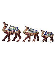 Decorated Brown Wooden Camels