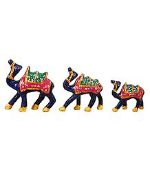 Decorated Blue Wooden Camels