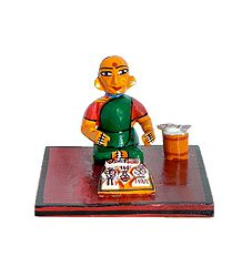 Fish Seller - Wooden Kondapalli Doll