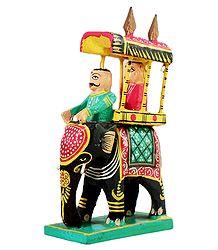 King on Elephant Howdah with Mahut