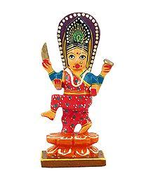 Goddess Durga - Wooden Statue