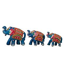 Set of 3 Decorated Blue Wooden Elephant
