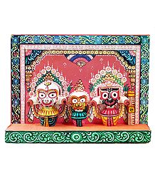 Jagannath, Balaram & Subhadra on a Decorative Platform