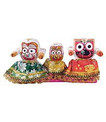 Jagannath, Balaram and Subhadra on a Decorative Platform