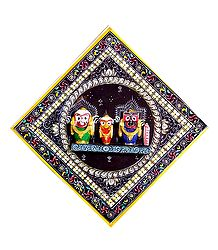 Wooden Jagannath, Balaram, Subhadra - Wall Hanging