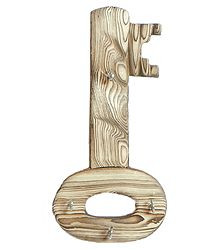 Key Shaped Key Rack with Four Hooks - Wall Hanging