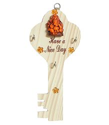 Key Shaped Key Rack with Three Hooks and Terracotta Ganesha - Wall Hanging