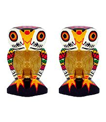 Pair of Wooden Owl with Colorful Painting