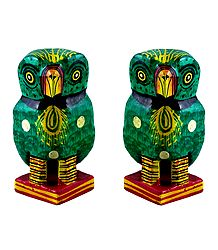 Set of 2 Wooden Green Owl