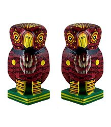 Set of 2 Wooden Maroon Owl with Colorful Painting