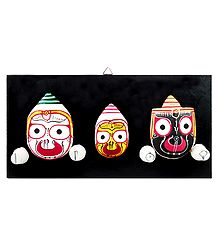 Faces of Jagannath, Balaram and Subhadra on Hardboard - Wall Hanging