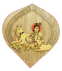Cowherd Krishna with Cows - Wall Hanging