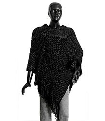 Black Woolen Poncho with Silver Thread Chain Design