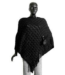 Black Woolen Poncho