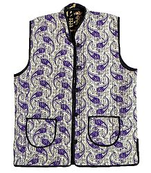Quilted Purple Paisley Print Jacket (For Men)