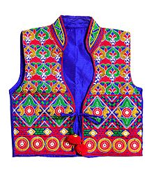 Multicolor Embroidery on Blue Ladies Jacket