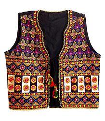Multicolor Embroidery on Black Ladies Jacket