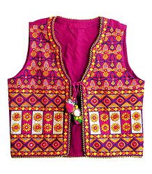 Multicolor Embroidery on Magenta Ladies Jacket