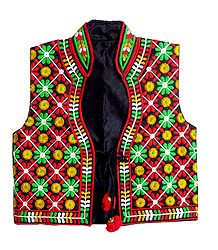 Multicolor Embroidery on Black Ladies Jacket