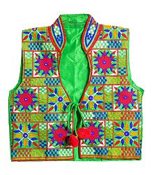 Multicolor Embroidery on Green Ladies Jacket
