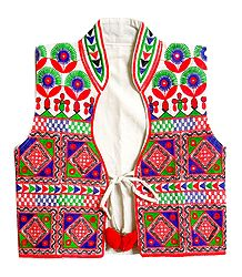 Multicolor Embroidery on White Ladies Jacket