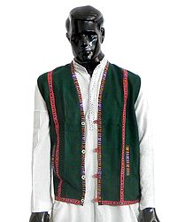 Sleeveless Himachali Green Woolen Jacket (For Men)