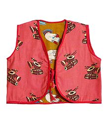 Block Print on Dark Peach Sleeveless Ladies Reversible Waistcoat Jacket