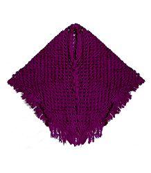 Magenta Crocheted Woolen Poncho