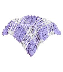 Light Mauve with White Crocheted Woolen Poncho