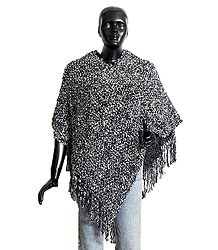 Black and White Woolen Poncho