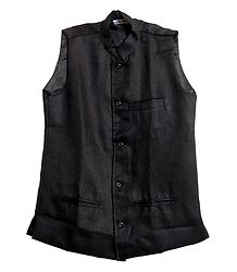 Mens Black Sleeveless Jacket