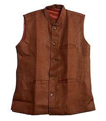 Mens Dark Brown Sleeveless Jacket