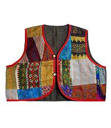 Patchwork Sleeveless Ladies Waistcoat Jacket