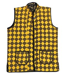 Quilted Yellow with Black Print Jacket (For Men)