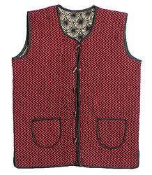 Quilted Red with Black Print Jacket (For Men)